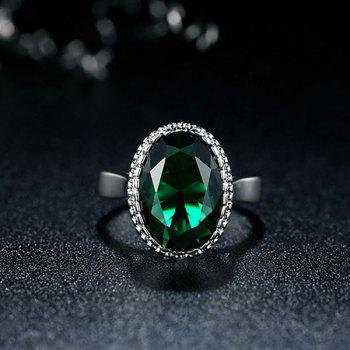 Platinum Plated Zircon Faux Crystal Ring -  GREEN