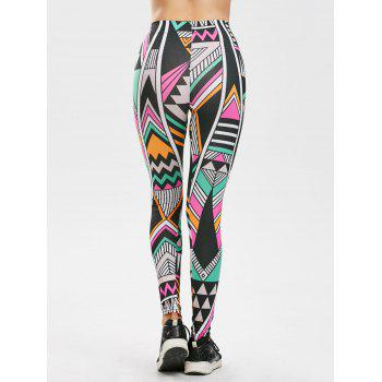 High Rise Geometric Print Leggings - multicolor ONE SIZE