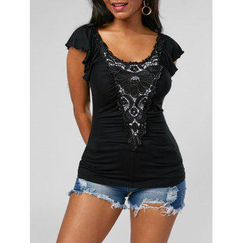 Lace Applique Scoop Neck Top