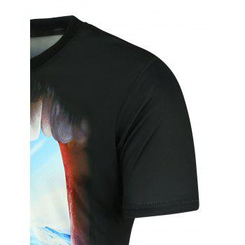 3D Shark Printed Crew Neck T-shirt - BLACK 3XL