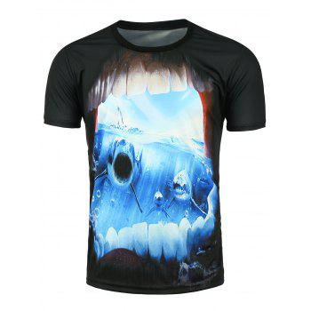 3D Shark Printed Crew Neck T-shirt