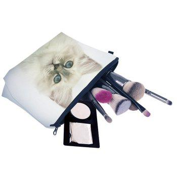 Animal Printed Makeup Clutch Bag -  WHITE