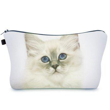 Animal Printed Makeup Clutch Bag - WHITE WHITE