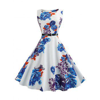 Vintage Sleeveless Printed Fit and Flare Dress