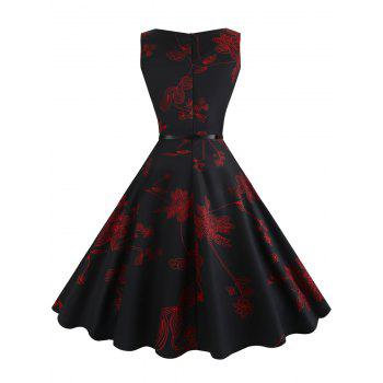Vintage Sleeveless Floral Fit and Flare Dress - RED L