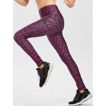 Allover Graphic Print Leggings - PURPLE PURPLE