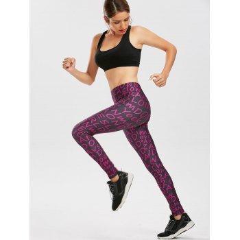 Allover Graphic Print Leggings - Pourpre XL