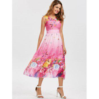 Bohemian Butterfly Floral Print Maxi Dress - PINK XL