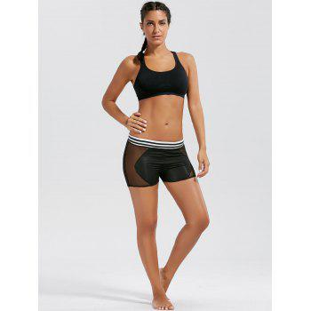 Stripe Mesh Panel Mini Sports Leggings - BLACK S