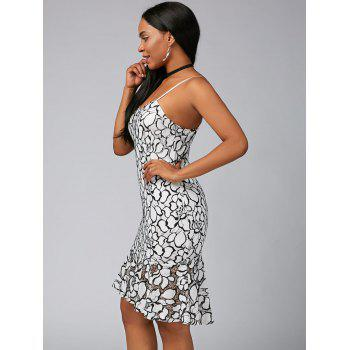 Spaghetti Strap Floral Lace Mermaid Dress - WHITE 2XL