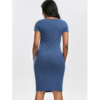 Low Cut Ruched Dress with Pockets - CERULEAN L