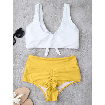 High Waisted Ruched Bikini Set - YELLOW S