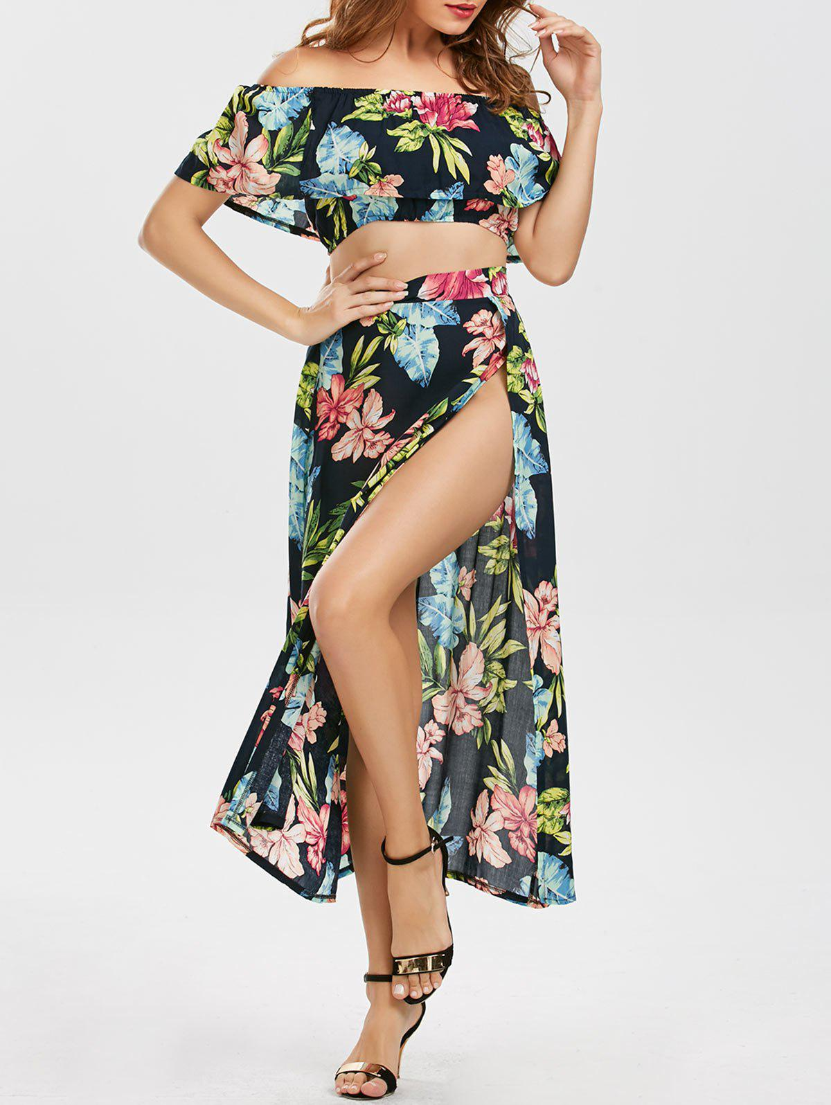 Flounce Floral Swing Three Piece Dress - FLORAL M