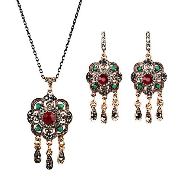 Floral Teardrop Chandelier Necklace and Earrings - RED