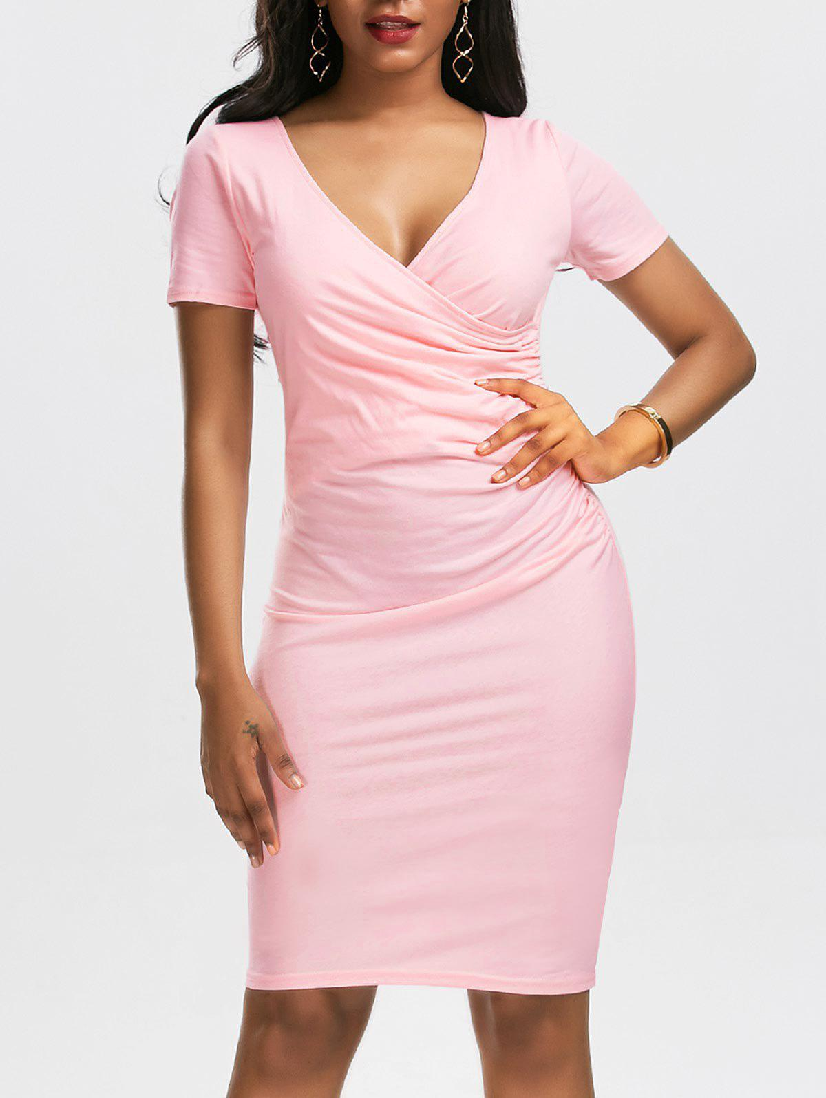 V Neck Surplice Ruched Bodycon Dress ruched v neck surplice dress