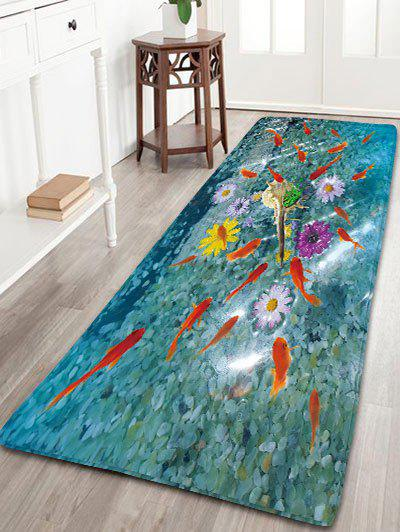 Bathroom Skidproof Flannel Rug with Goldfish Print skidproof flannel bathroom rug with nightfall surfing print