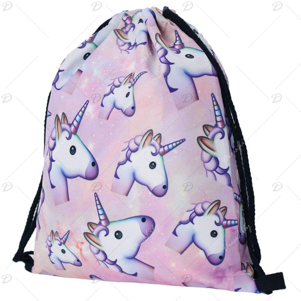 Unicorn Printed Drawstring Backpack - COLORMIX