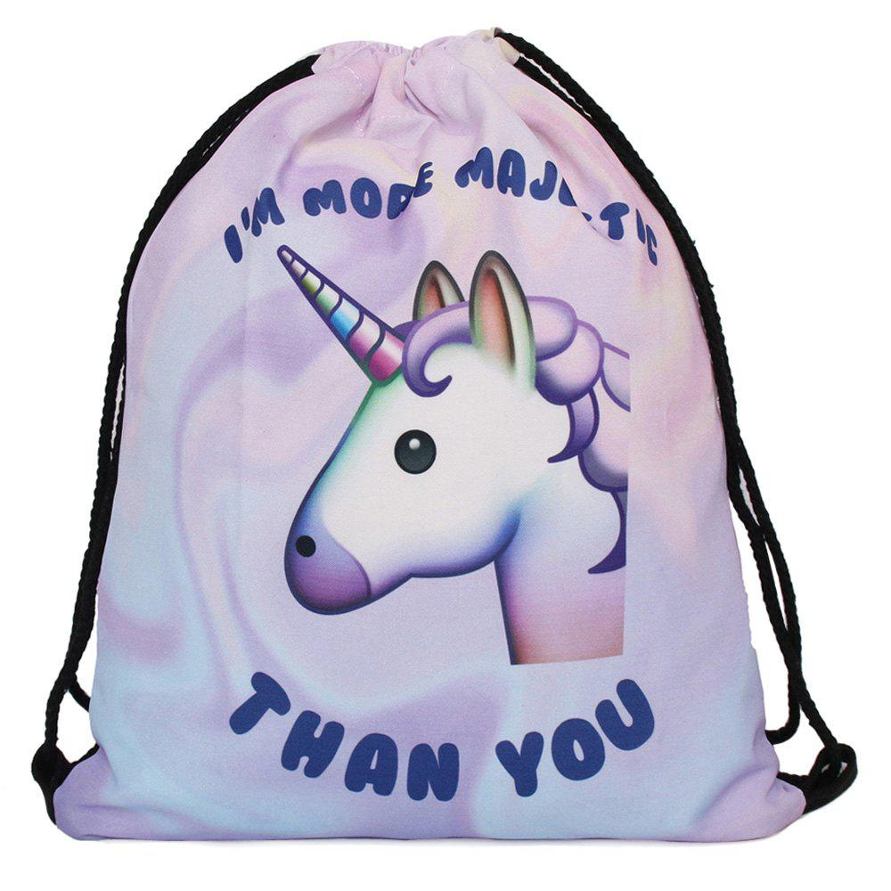 Unicorn Printed Drawstring Backpack
