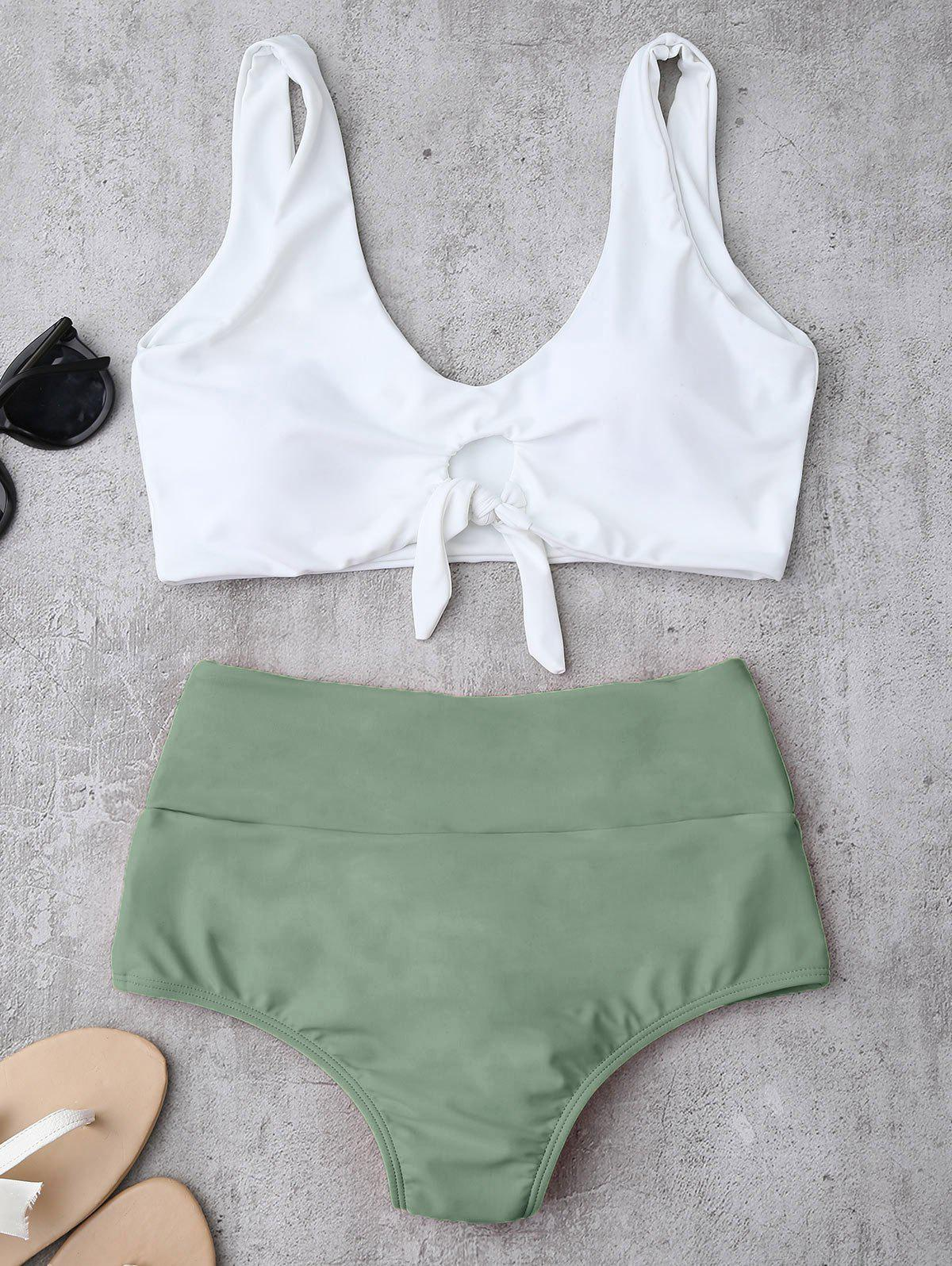 High Waisted Ruched Bikini Set - LIGHT GREEN S