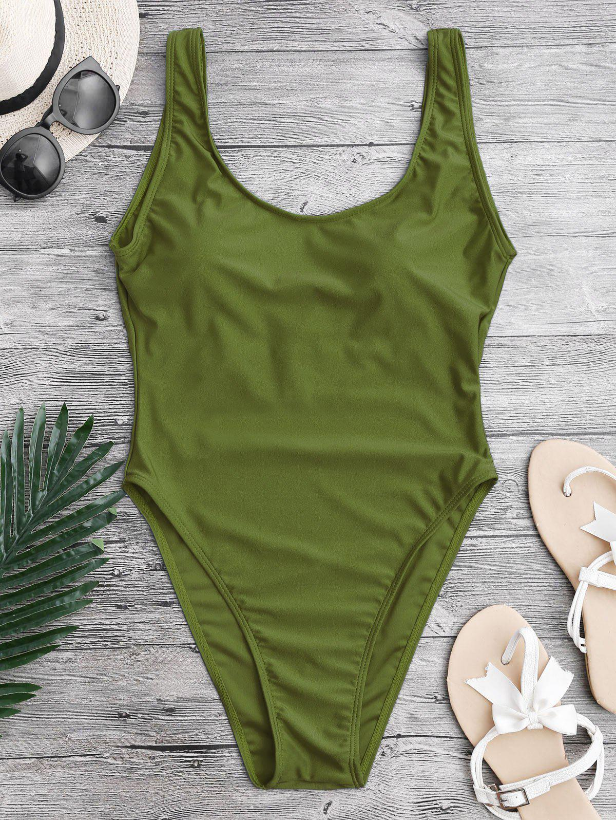 Backless High Cut One-piece Swimwear - GREEN L