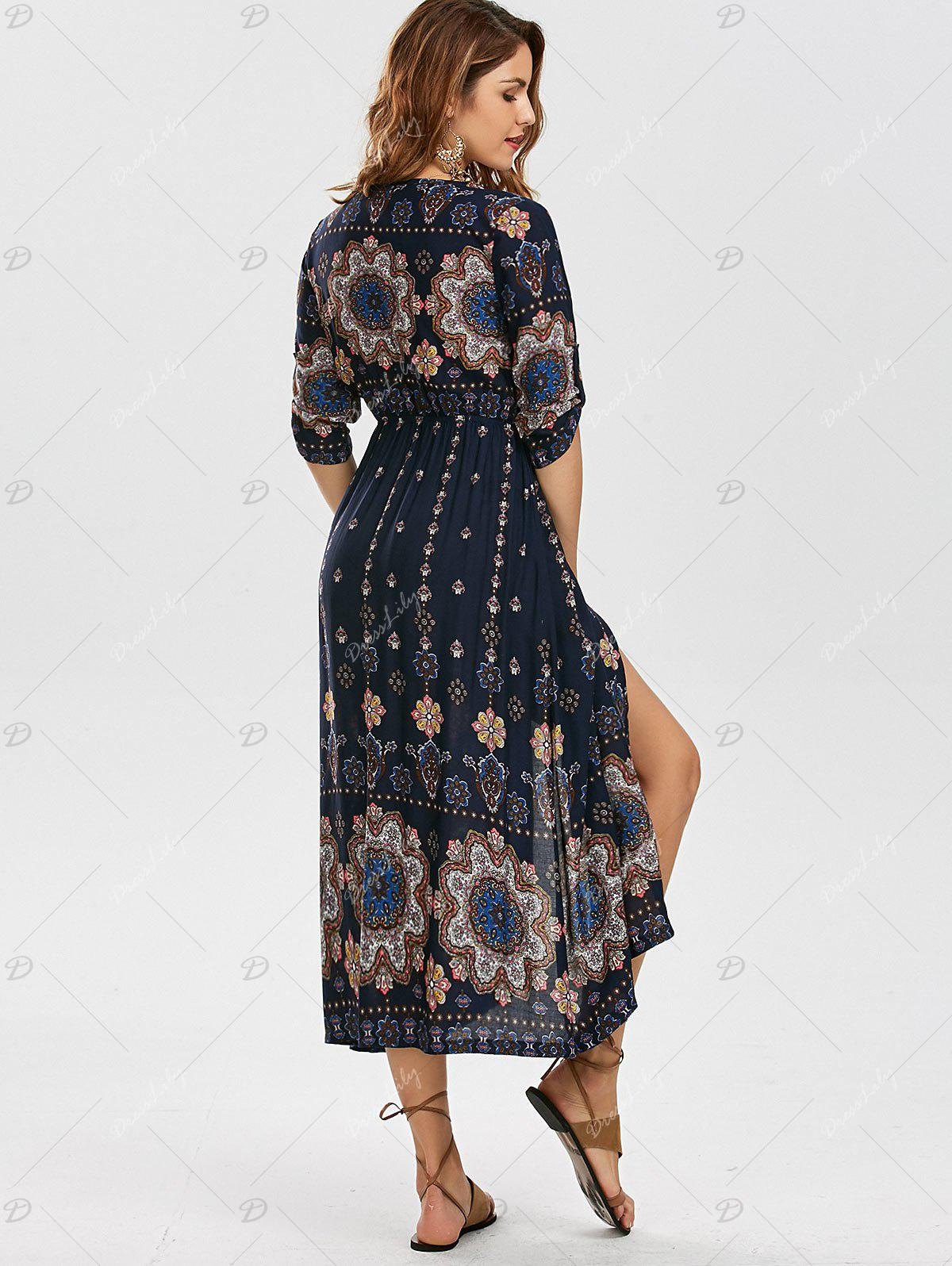 Bohemian Tribal Print High Split Dress - COLORMIX XL