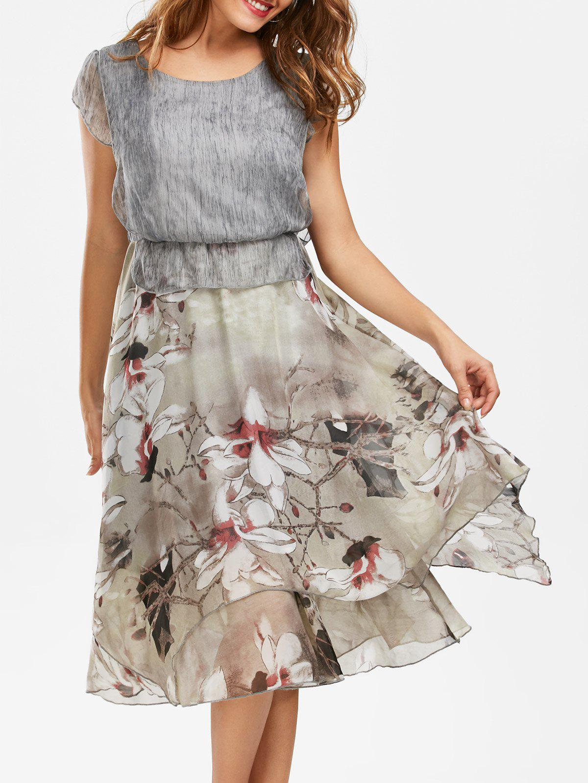 Bohemian Floral Print Peplum Midi Dress - GRAY M