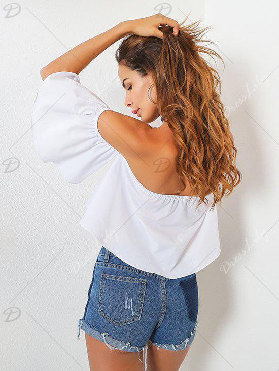 Off The Shoulder High Low Crop Top - WHITE ONE SIZE