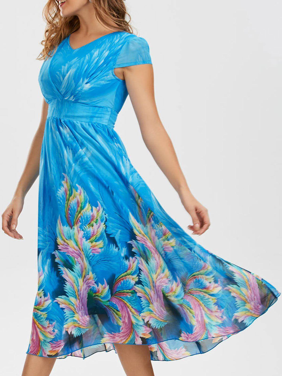 Bohemian Chiffon Midi Floral Dress - BLUE XL