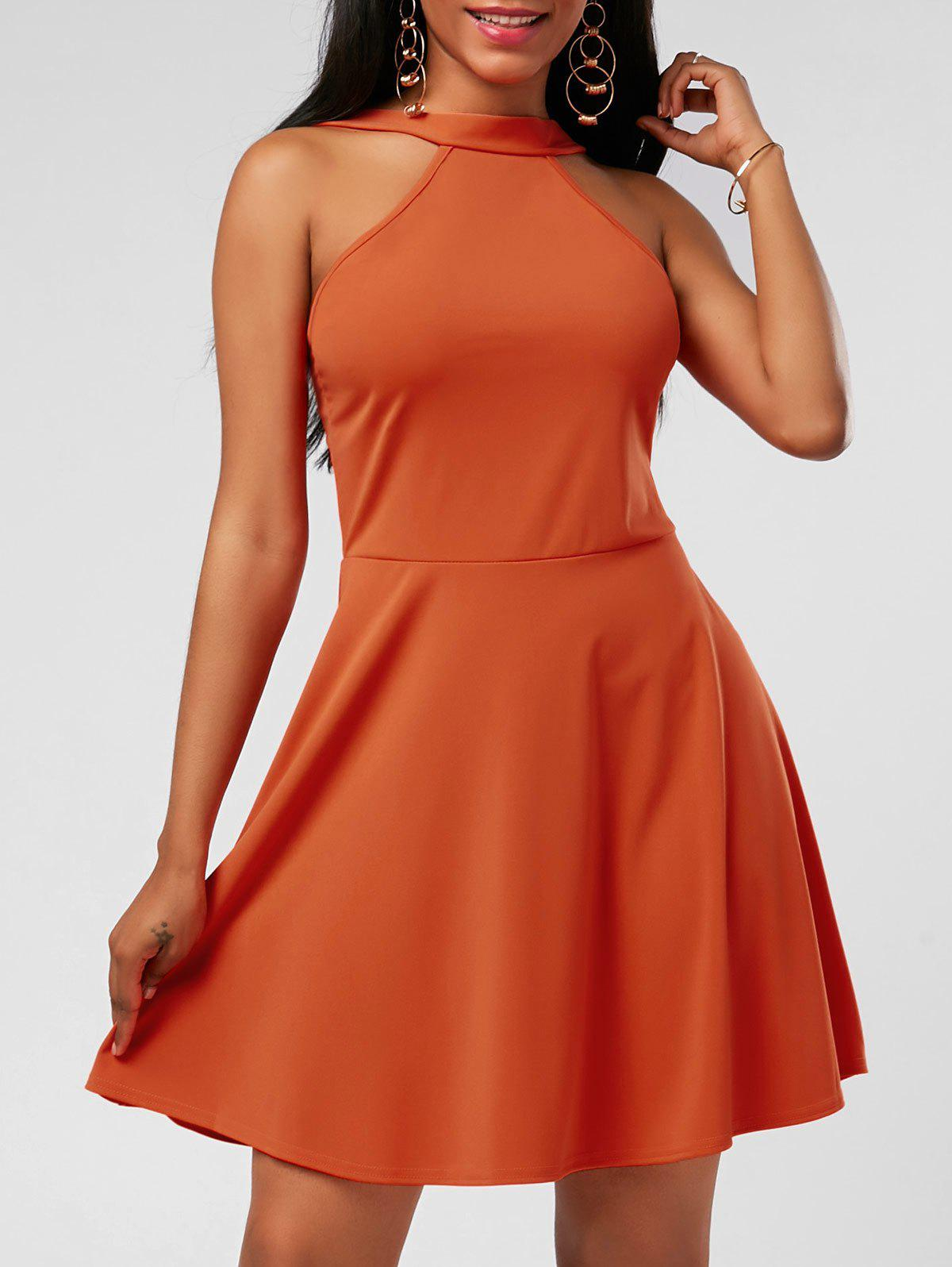 High Neck Fit and Flare Mini Cocktail Dress - JACINTH XL