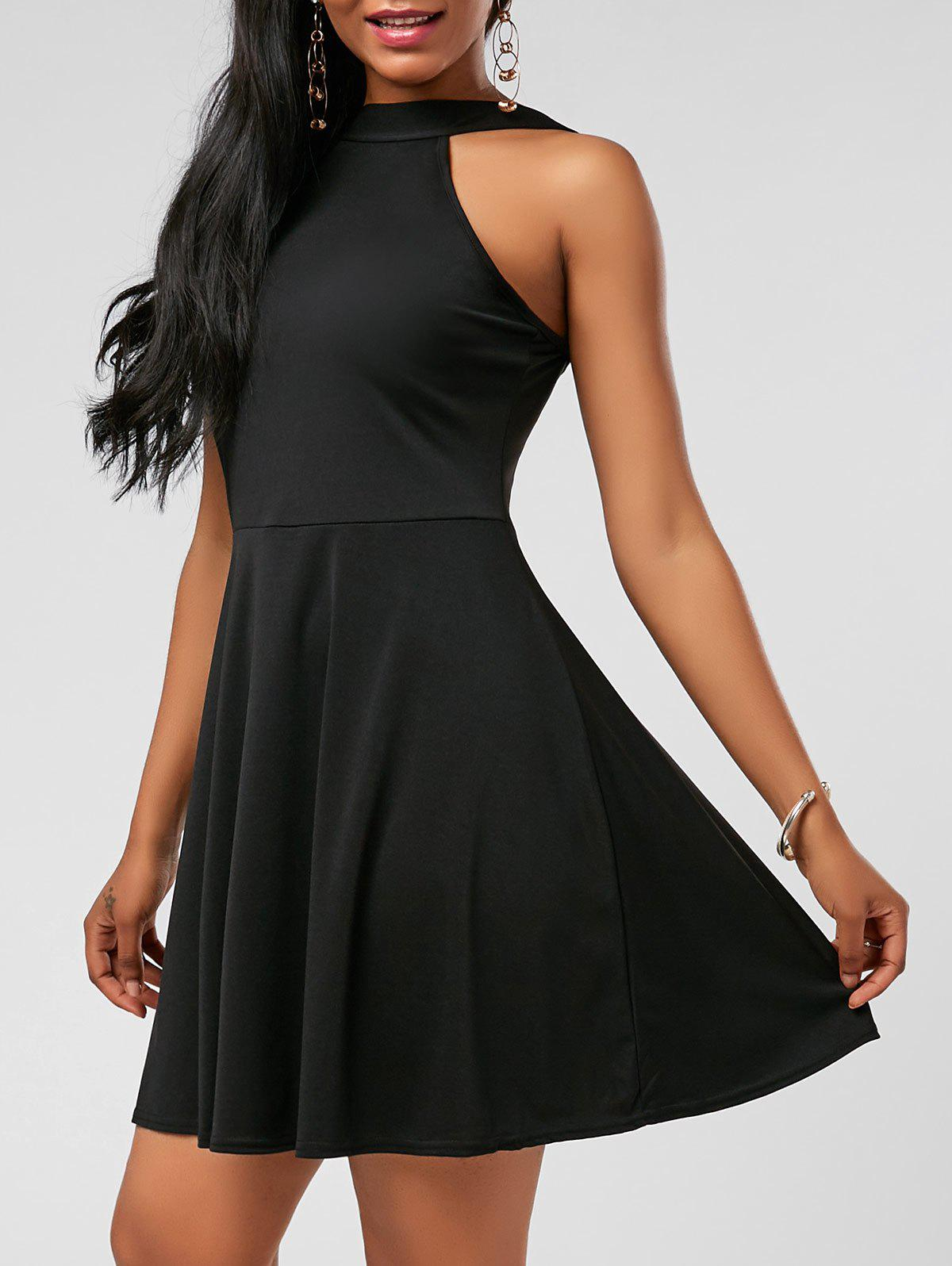 High Neck Fit and Flare Mini Cocktail Dress - BLACK S