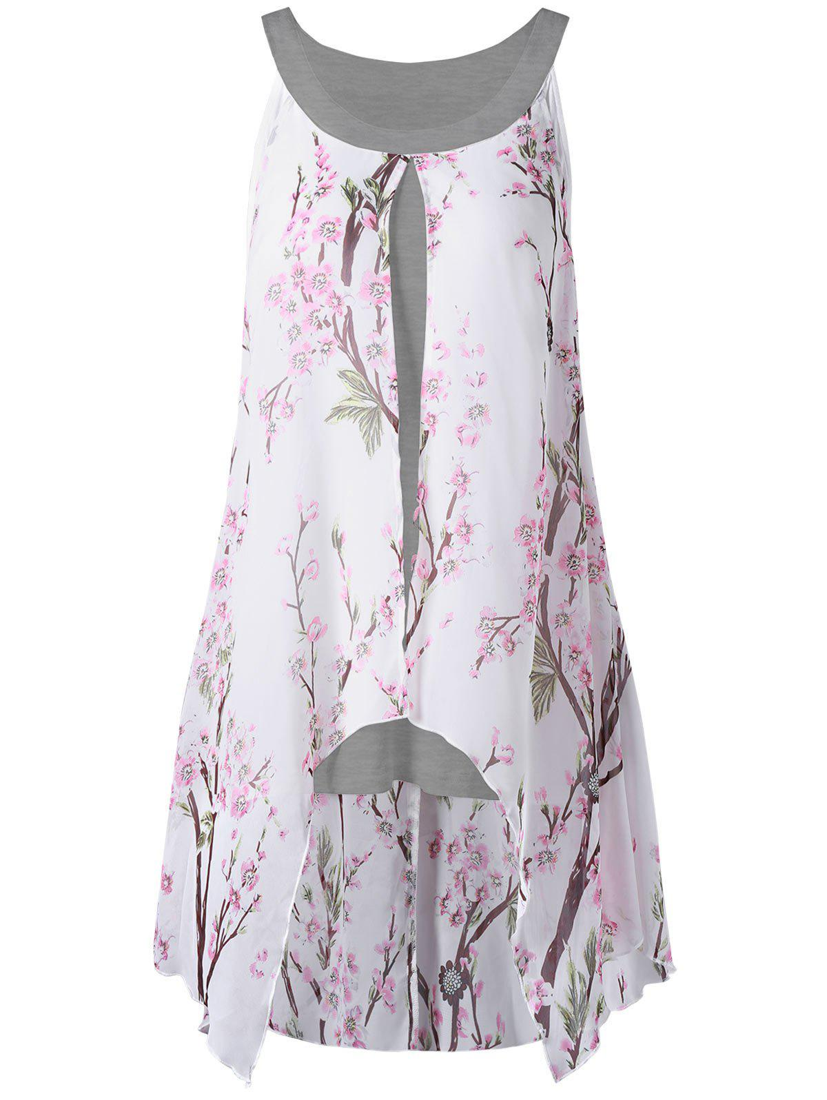 Plus Size Tiny Floral High Low Blouse plus size high low floral embroidered dress
