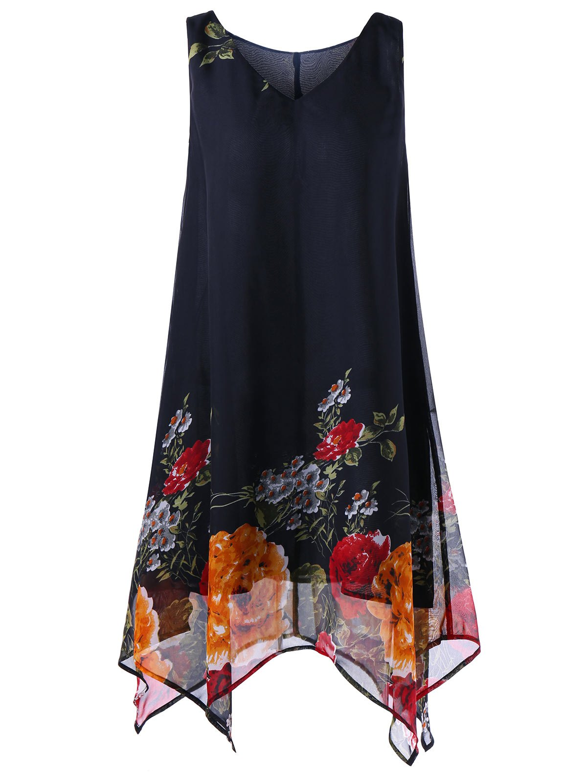 Plus Size V Neck Floral Handkerchief Dress tiny floral chiffon plus size slip handkerchief dress
