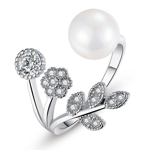 Faux Pearl and Diamond Cuff Ring - SILVER