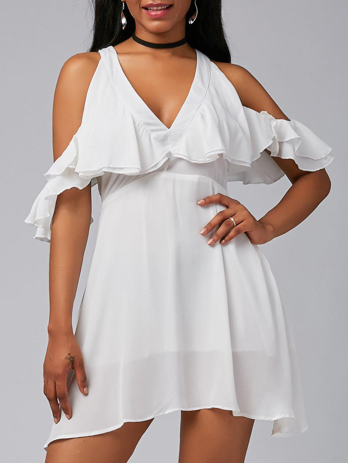 Ruffle V Neck Cold Shoulder Chiffon Mini Dress - WHITE XL
