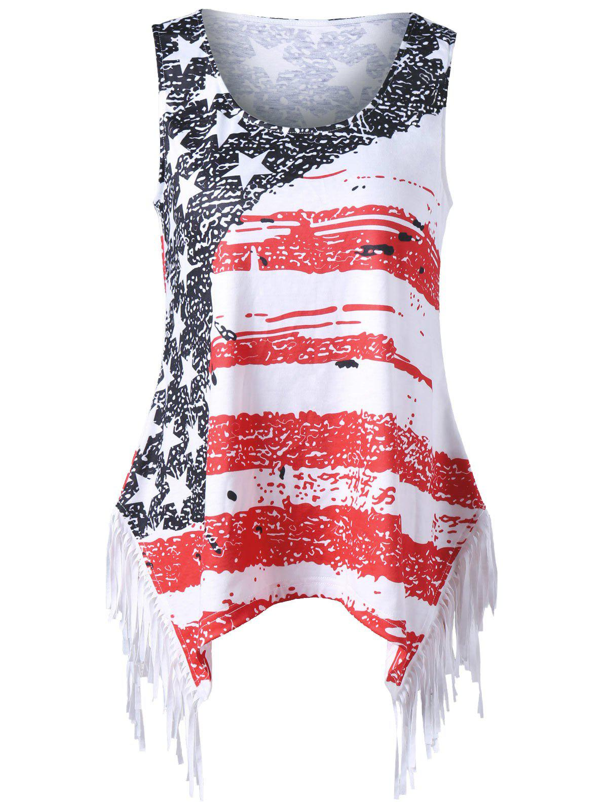 Plus Size American Flag Fringed T-shirt - COLORMIX 2XL