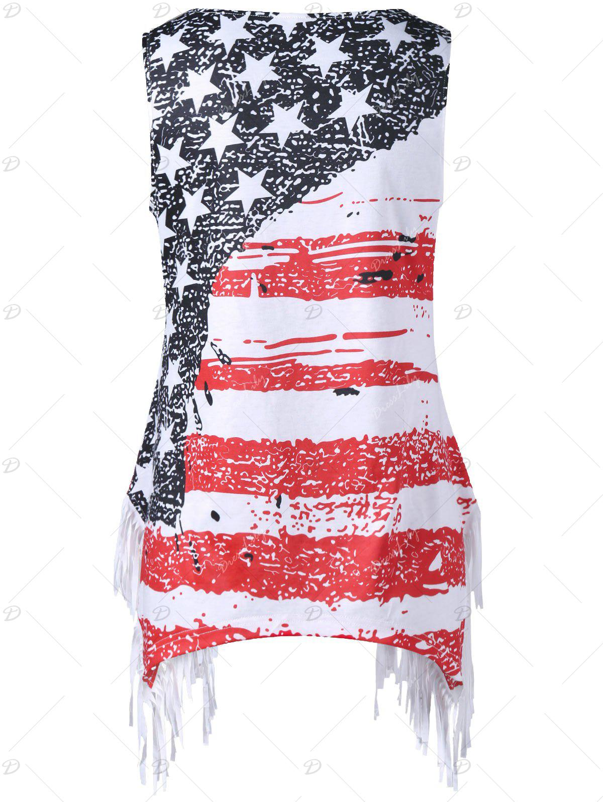 Plus Size American Flag Fringed T-shirt - COLORMIX 3XL