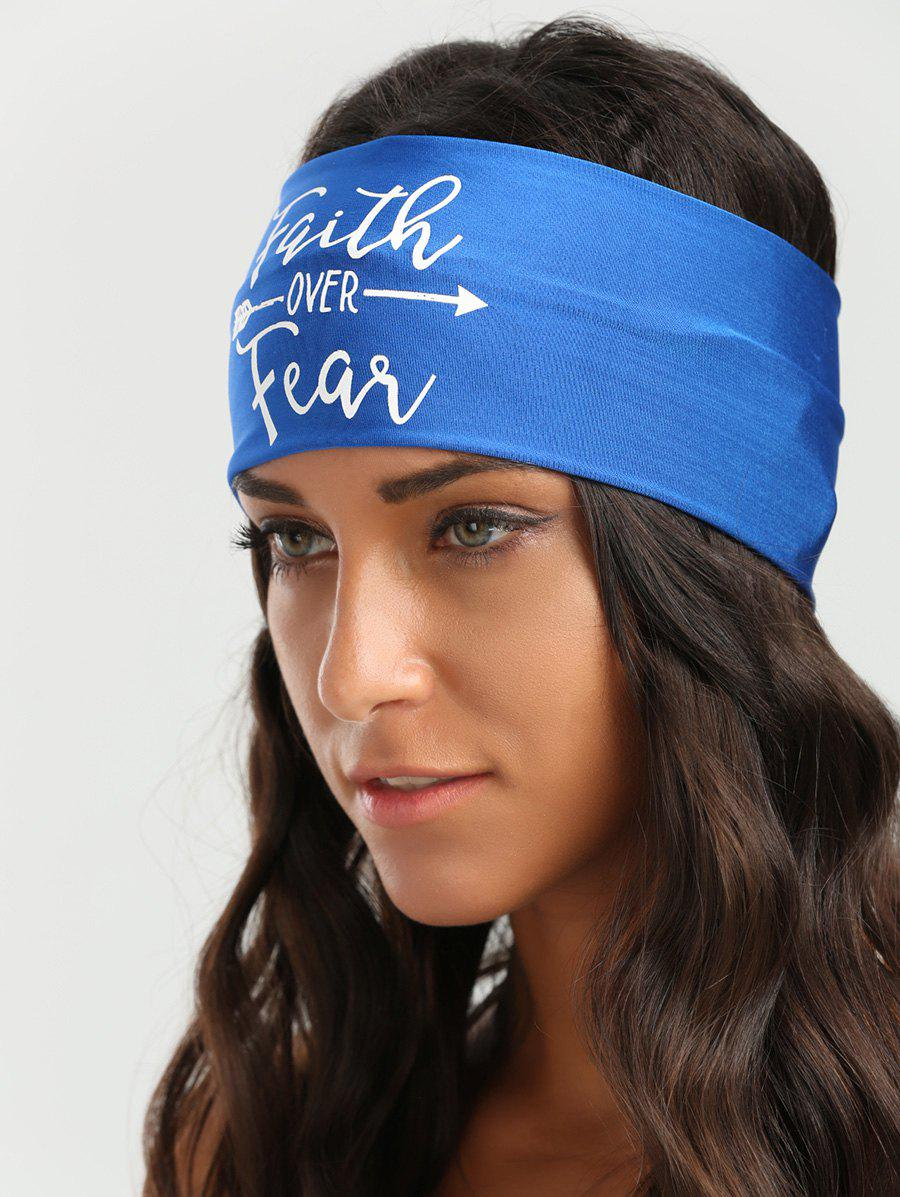 Elastic Sports Letters Embellished Headband - Bleu