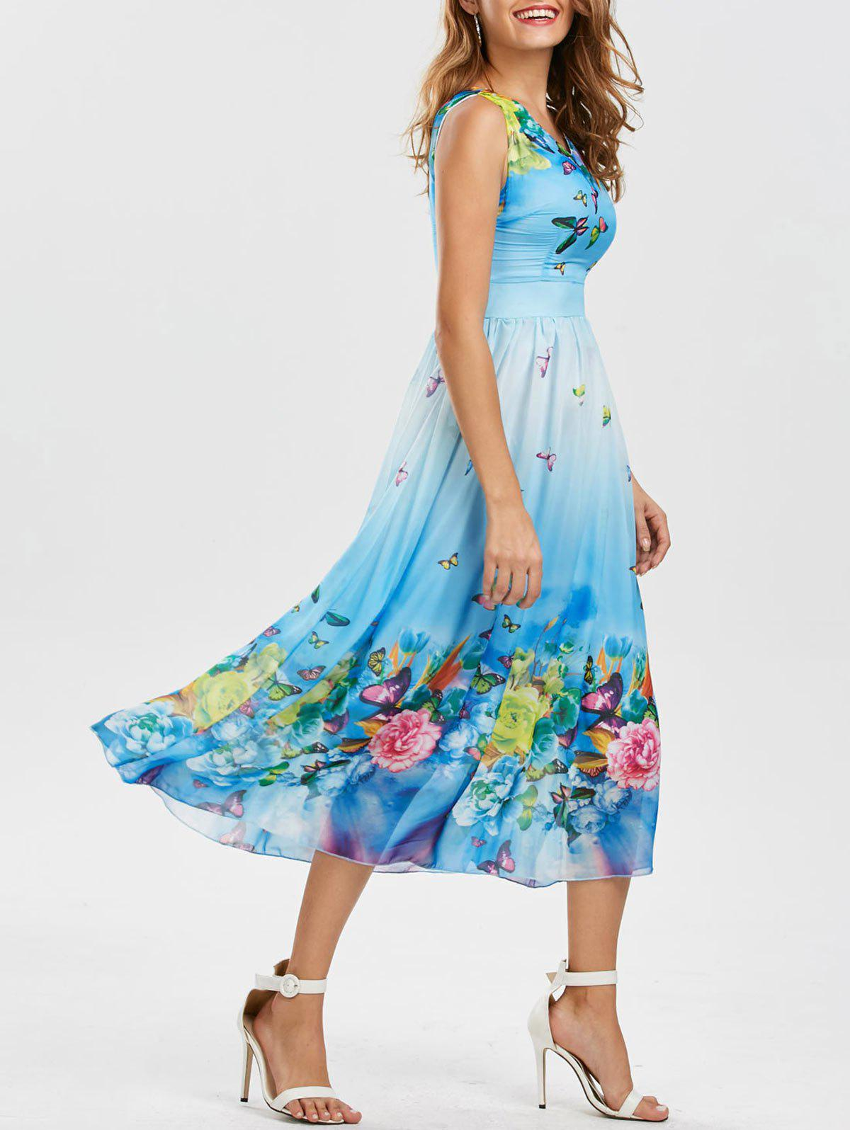 Bohemian Butterfly Floral Print Maxi Dress - WINDSOR BLUE L