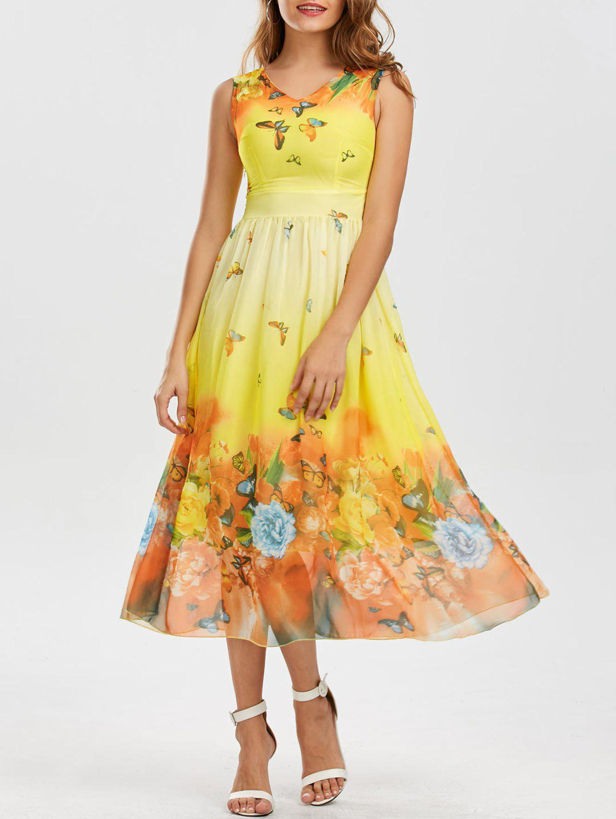 Bohemian Butterfly Floral Print Maxi Dress - YELLOW L