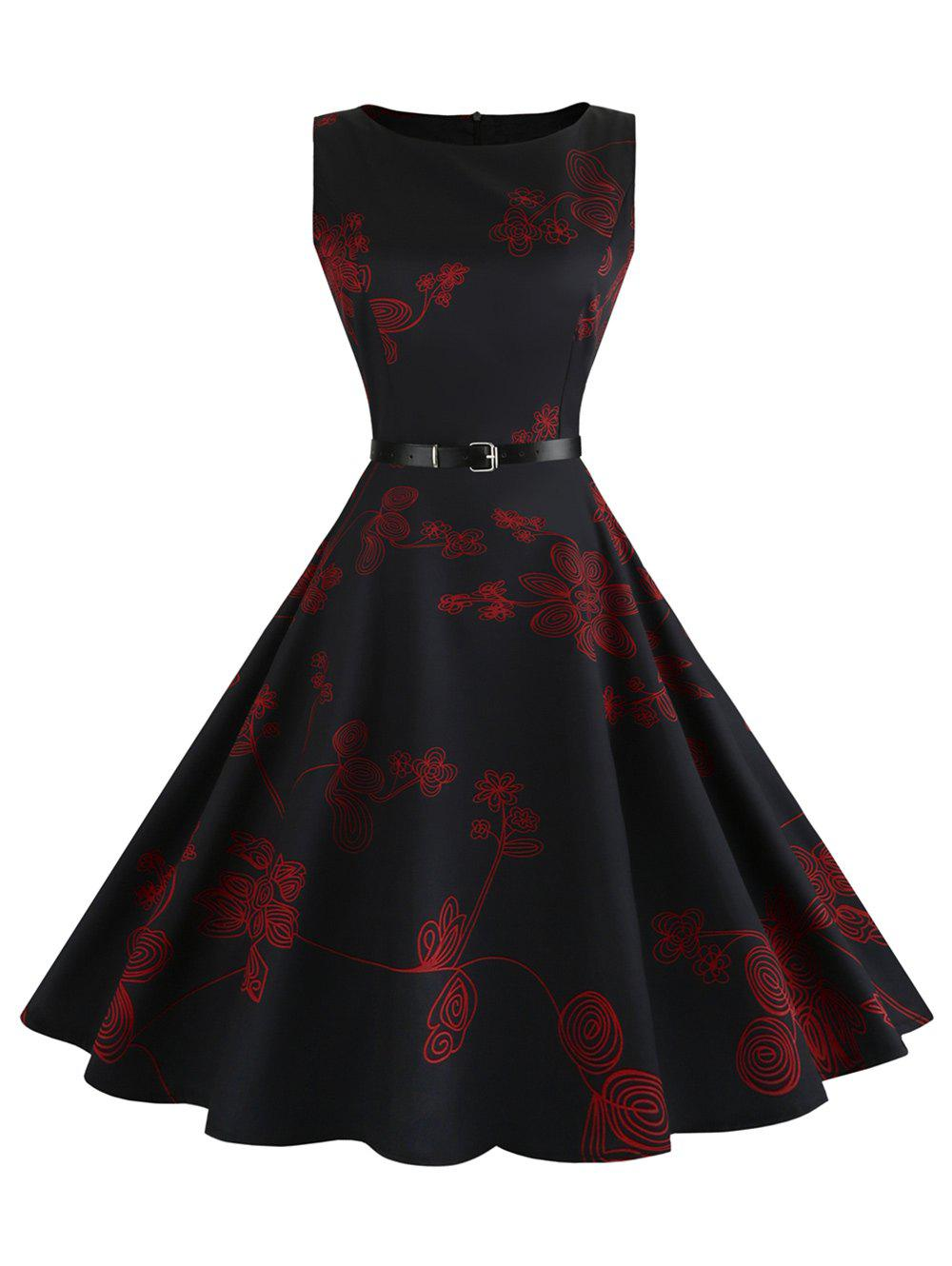 Vintage Sleeveless Floral Fit and Flare Dress - RED M