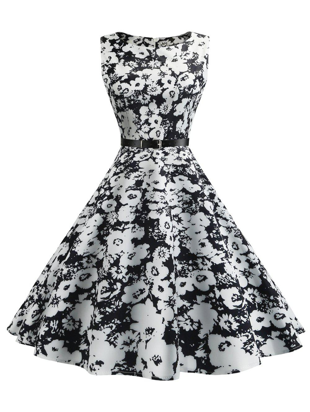 Vintage Sleeveless Floral Fit and Flare Dress sleeveless floral print fit and flare dress