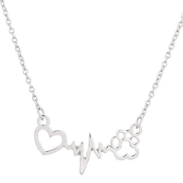 Hollow Out Heart Lightning Paw Shape Necklace cute love heart hollow out bracelet watch for women