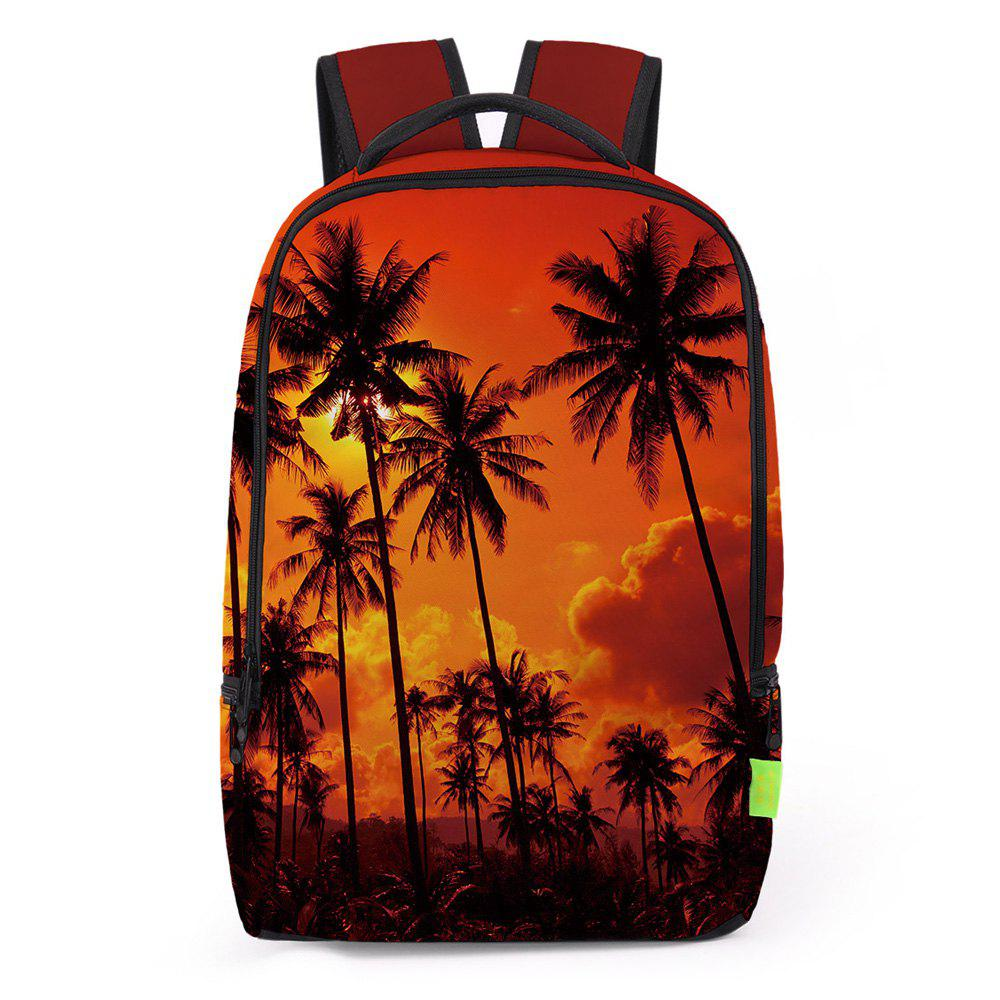 Padded Strap Palm Printed Backpack - JACINTH