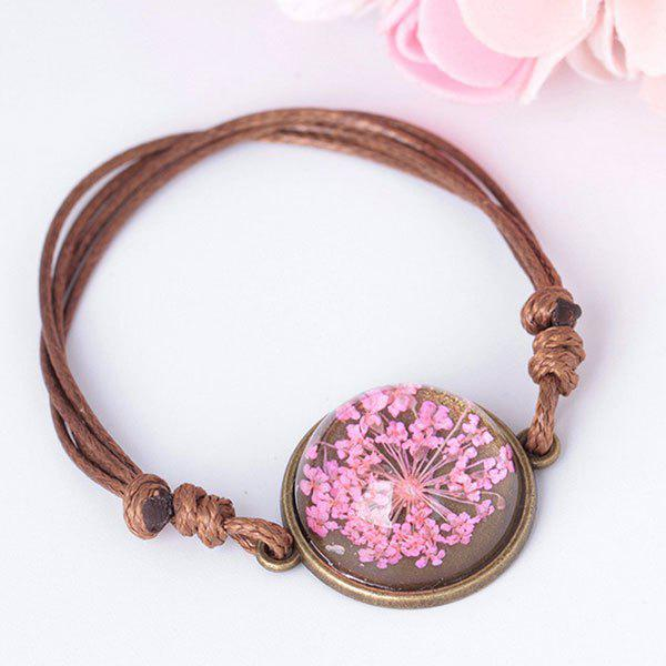 Round Glass Dry Flower Braid Rope Bracelet - ROSE RED