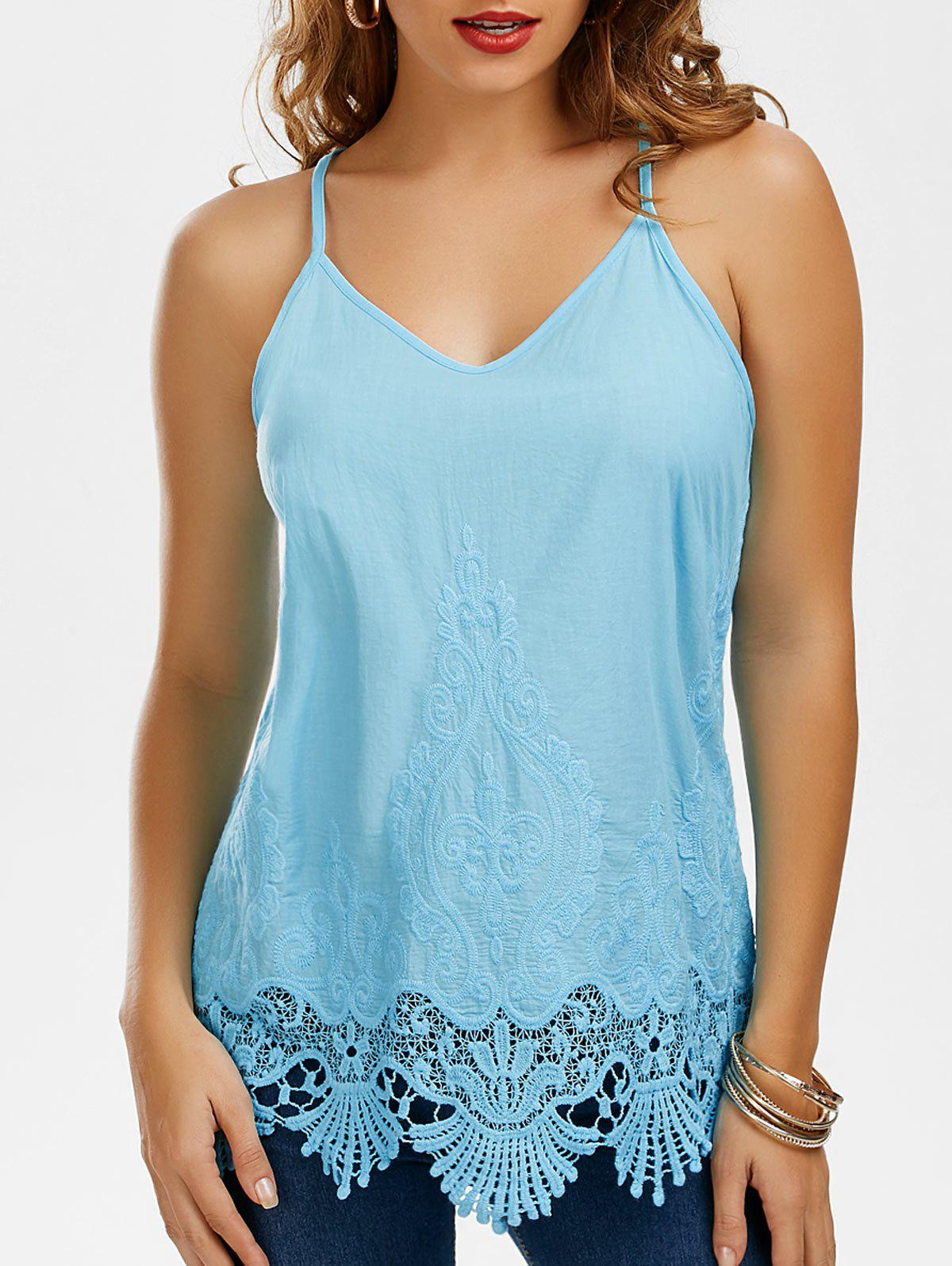 PLUS-REGULAR Women Basic Long Tank Top LACE-TRIM Camisole Layering Bozzolo USA.