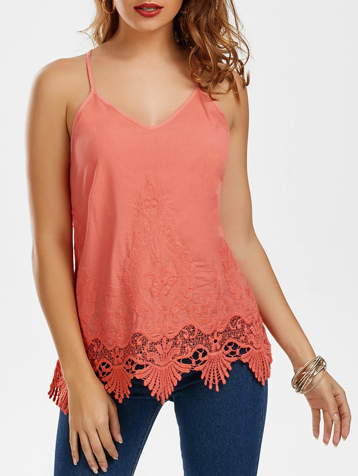 Embroidered Lace Trim Cami Top - WATERMELON RED 2XL