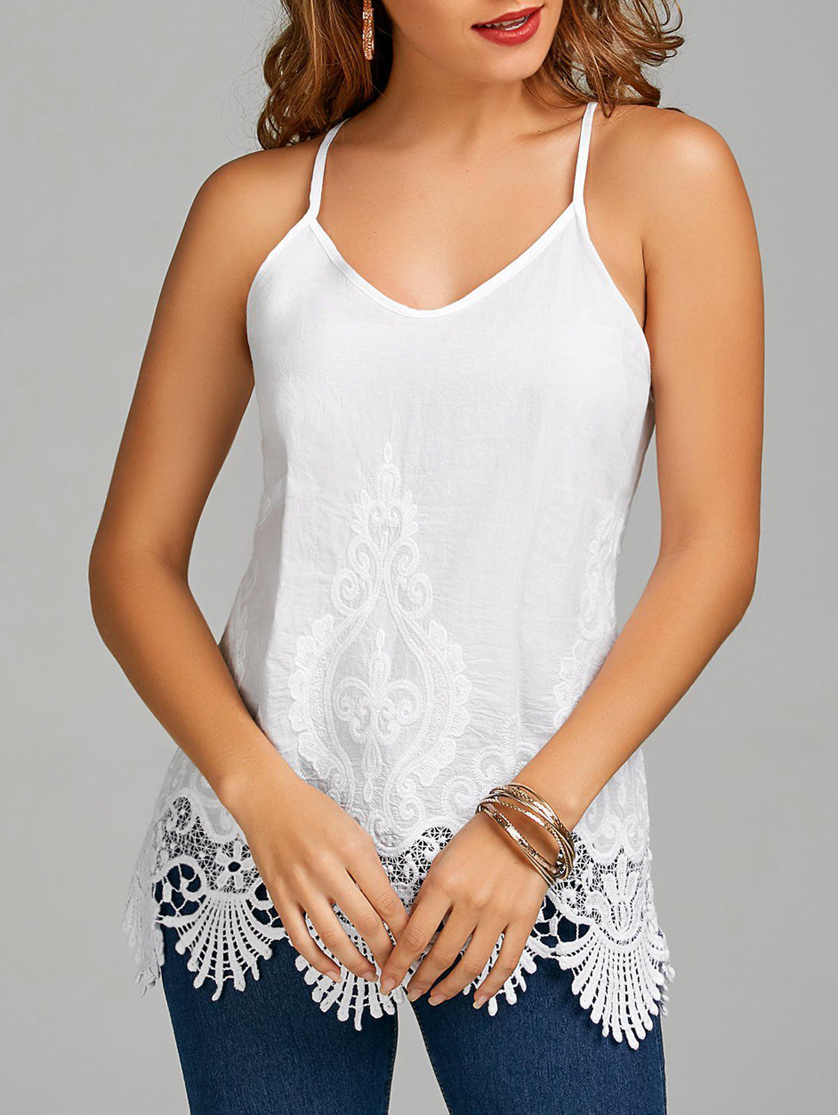 Embroidered Lace Trim Cami Top - WHITE XL