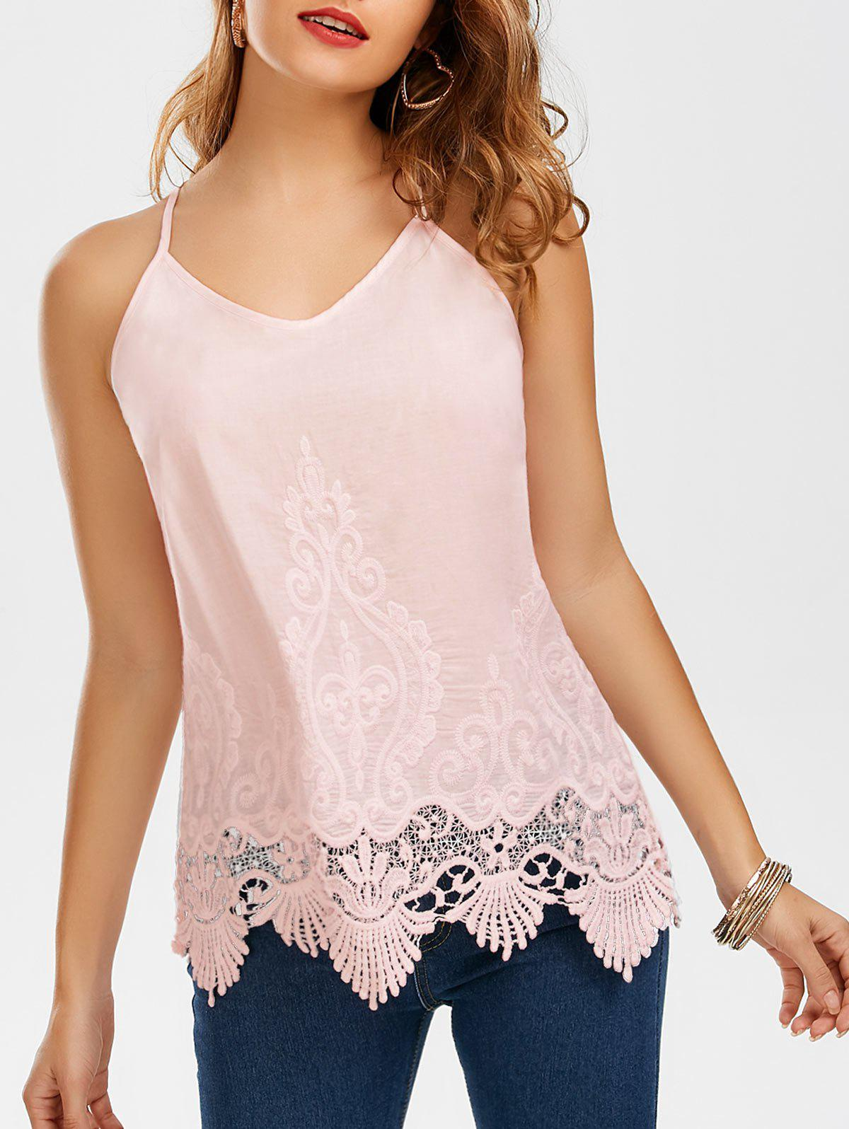 Embroidered Lace Trim Cami Top - PINK S