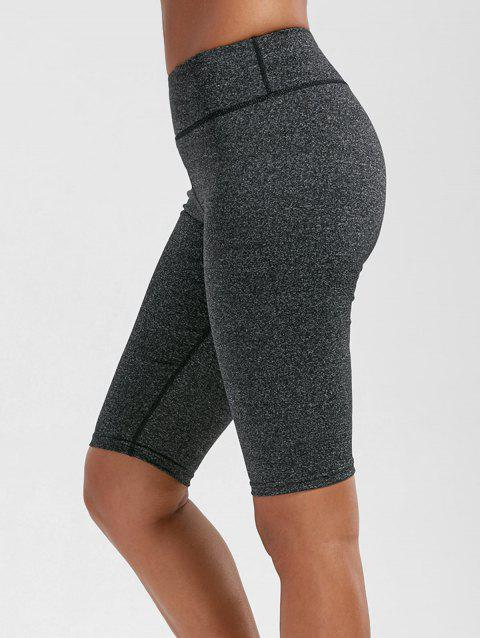 High Waist Knee Length Leggings with Pockets - DEEP GRAY S
