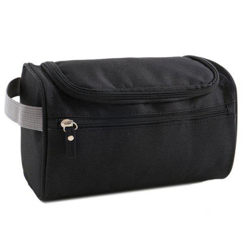 Nylon Toiletry Bag with Hook - BLACK